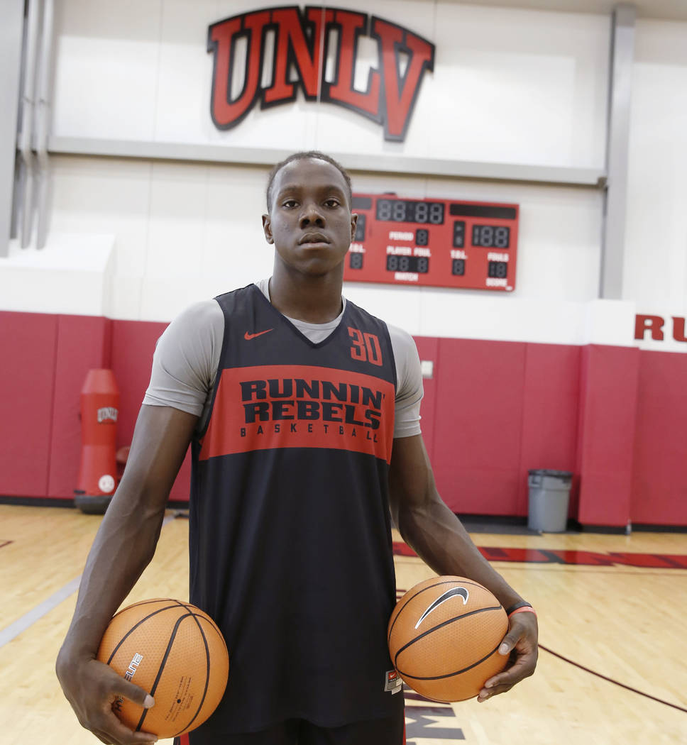 UNLV forward Jonathan Tchamwa Tchatchoua poses for photo before team practice on Friday, Sept. 28, 2018, in Las Vegas. Bizuayehu Tesfaye/Las Vegas Review-Journal @bizutesfaye