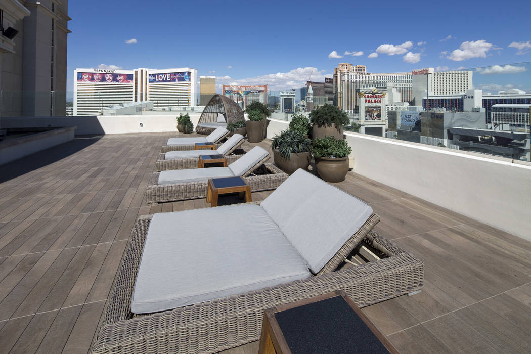A Strip view from the patio of the 10,300-square-foot Nobu Villa on the rooftop of the Nobu Hotel, a boutique hotel at Caesars Palace in Las Vegas on Thursday, Oct. 4, 2018. Richard Brian Las Vega ...