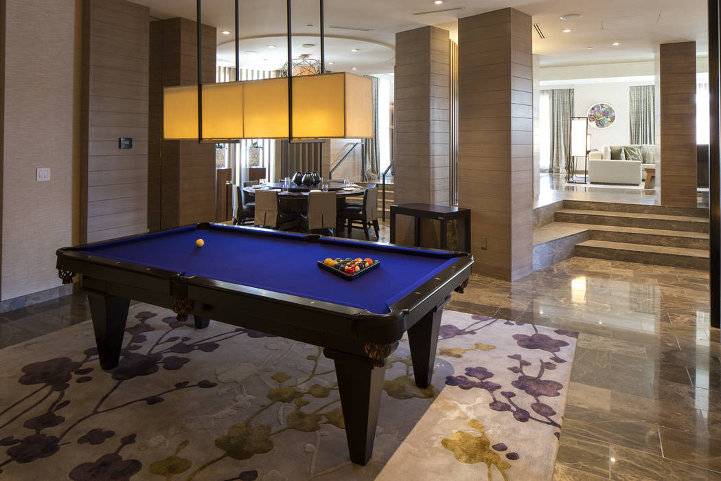 A custom pool table in the living room of the three-bedroom, 10,300-square-foot Nobu Villa on the rooftop of the Nobu Hotel, a boutique hotel at Caesars Palace in Las Vegas on Thursday, Oct. 4, 20 ...