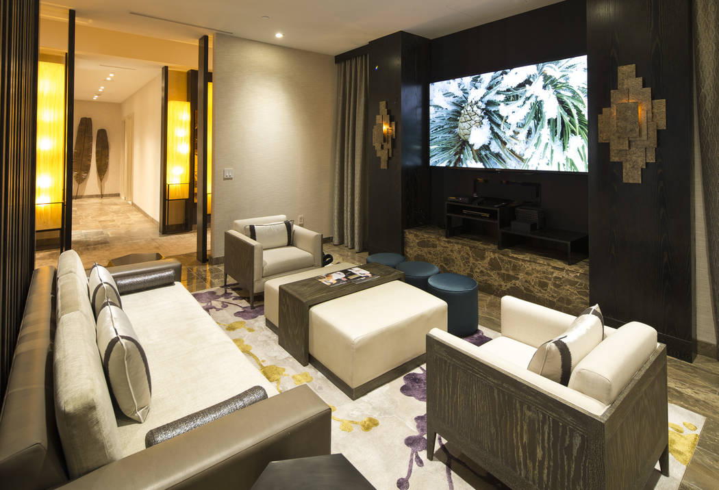 The media room of the 10,300-square-foot Nobu Villa on the rooftop of the Nobu Hotel, a boutique hotel at Caesars Palace in Las Vegas on Thursday, Oct. 4, 2018. Richard Brian Las Vegas Review-Jour ...