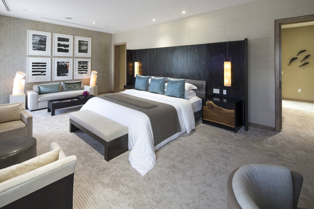 The master bedroom of the three-bedroom, 10,300-square-foot Nobu Villa on the rooftop of the Nobu Hotel, a boutique hotel at Caesars Palace in Las Vegas on Thursday, Oct. 4, 2018. Richard Brian La ...