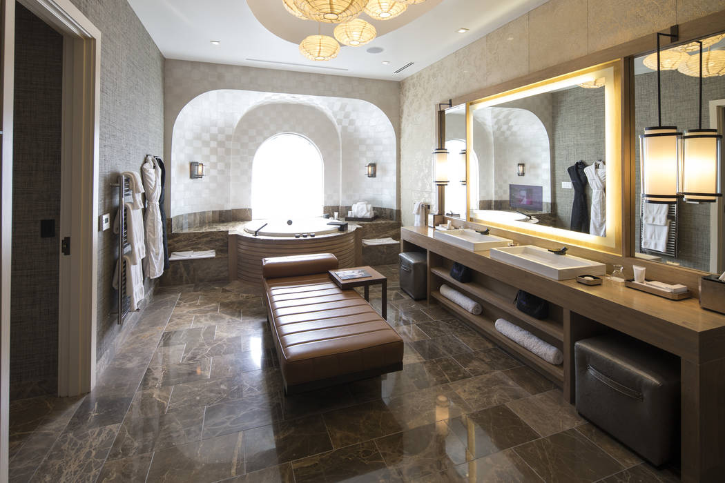 The master bathroom of the three-bedroom, 10,300-square-foot Nobu Villa on the rooftop of the Nobu Hotel, a boutique hotel at Caesars Palace in Las Vegas on Thursday, Oct. 4, 2018. Richard Brian L ...