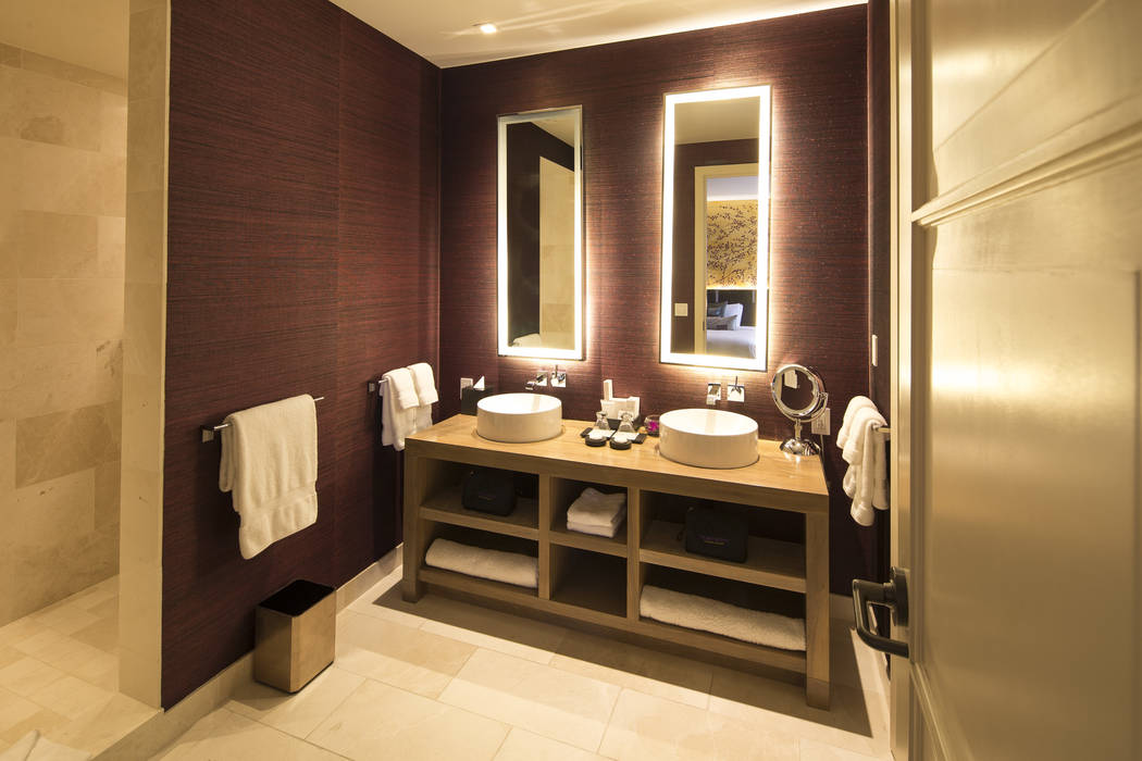 A bathroom in the 10,300-square-foot Nobu Villa on the rooftop of the Nobu Hotel, a boutique hotel at Caesars Palace in Las Vegas on Thursday, Oct. 4, 2018. Richard Brian Las Vegas Review-Journal ...