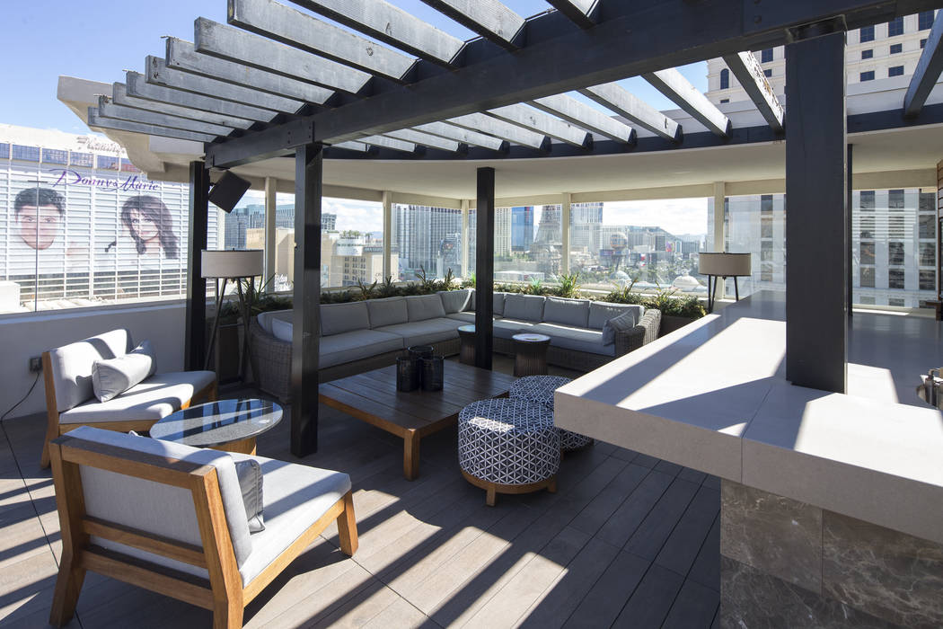 The patio of the 10,300-square-foot Nobu Villa on the rooftop of the Nobu Hotel, a boutique hotel at Caesars Palace in Las Vegas on Thursday, Oct. 4, 2018. Richard Brian Las Vegas Review-Journal @ ...