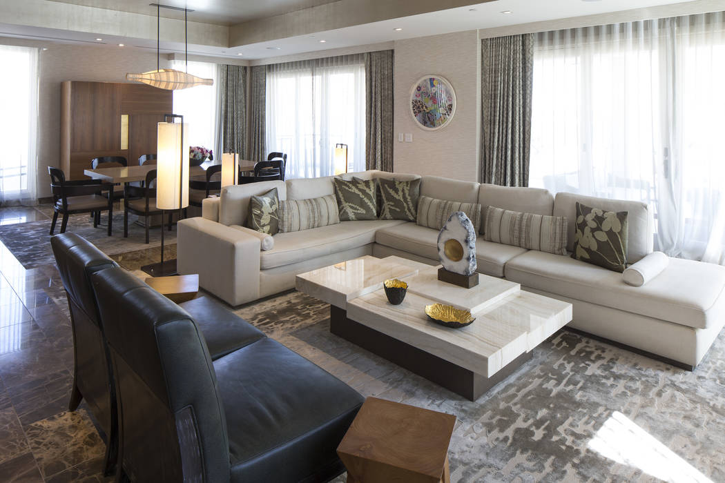 The living room of the 10,300-square-foot Nobu Villa on the rooftop of the Nobu Hotel, a boutique hotel at Caesars Palace in Las Vegas on Thursday, Oct. 4, 2018. Richard Brian Las Vegas Review-Jou ...
