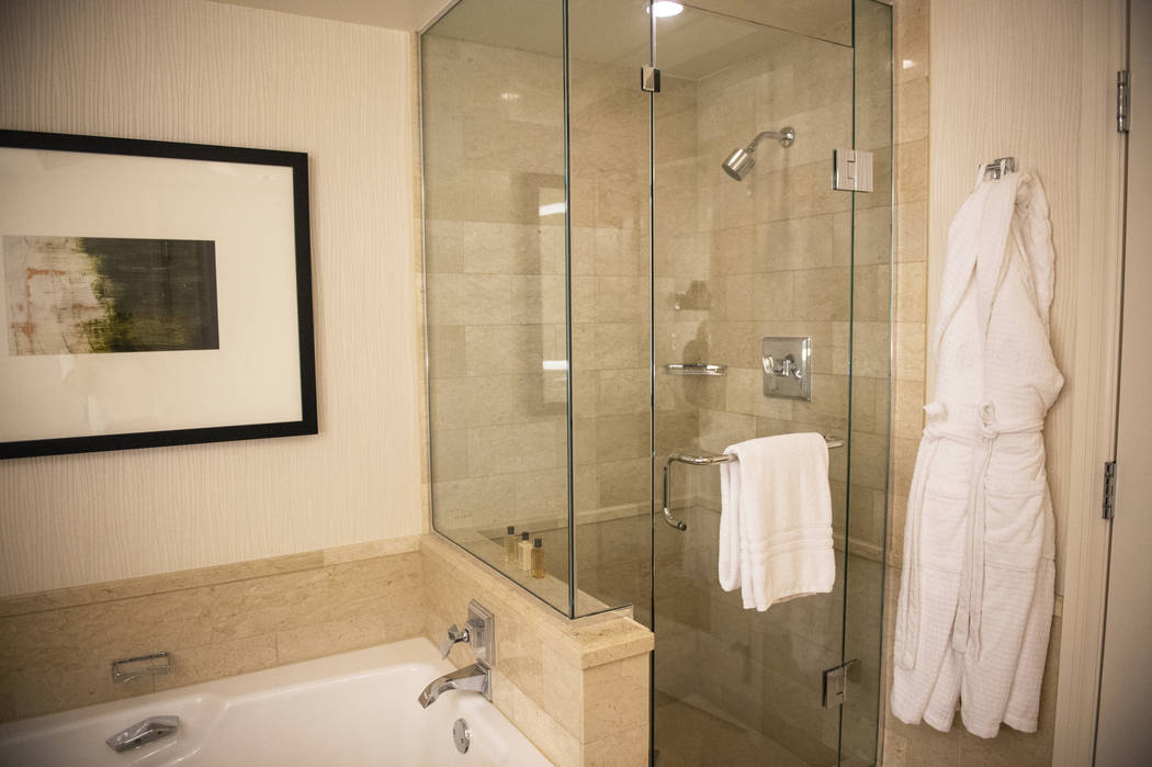 Bathroom in the room on the 37th floor at the Four Seasons Hotel Las Vegas, Thursday, Oct. 4, 2018. Caroline Brehman/Las Vegas Review-Journal
