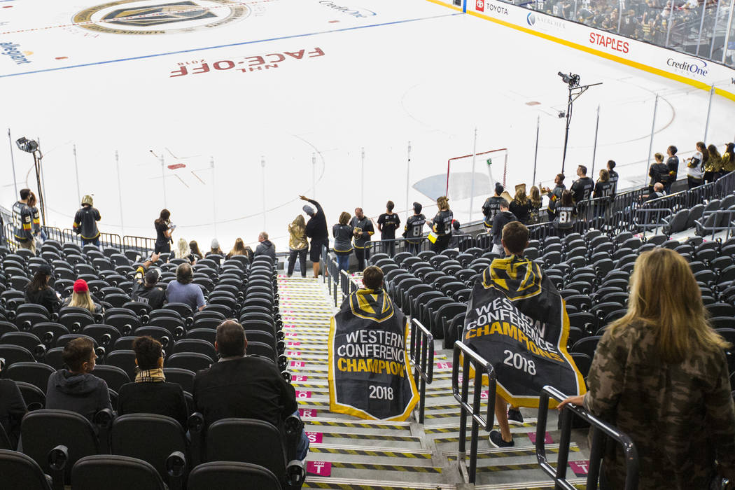 Fans head to their seats for the season-opening game between the Golden Knights and Philadelphia Flyers at T-Mobile Arena in Las Vegas on Thursday, Oct. 4, 2018. Chase Stevens Las Vegas Review-Jou ...