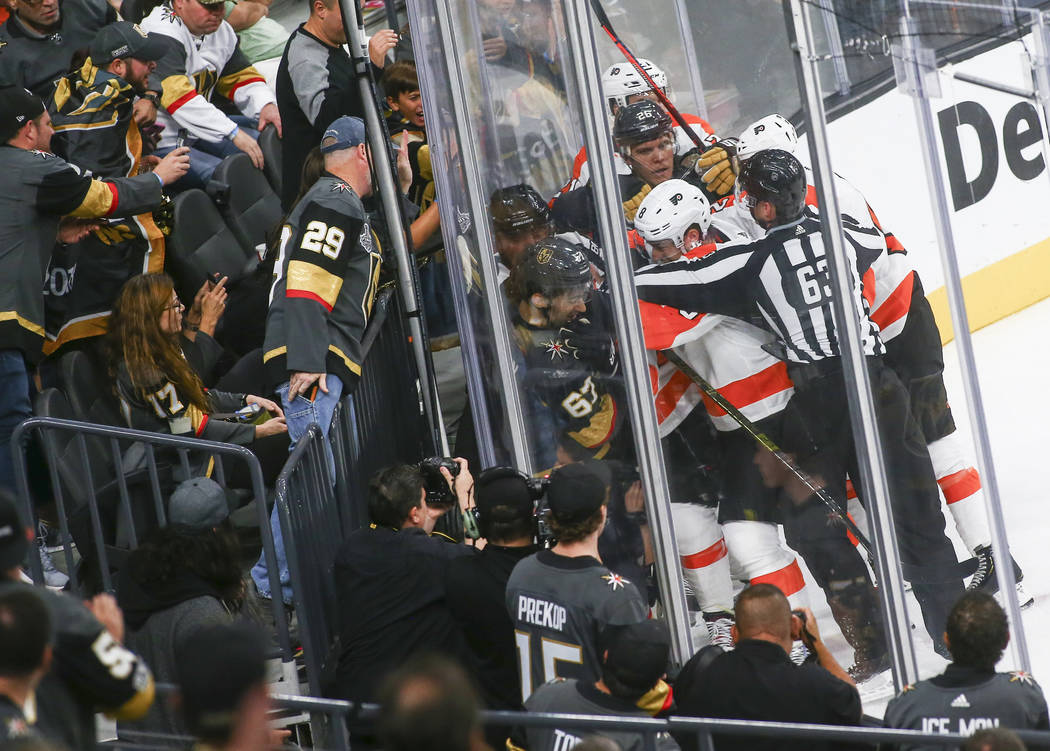 Golden Knights players fight with the Philadelphia Flyers during the second period of a season-opening game at T-Mobile Arena in Las Vegas on Thursday, Oct. 4, 2018. Chase Stevens Las Vegas Review ...