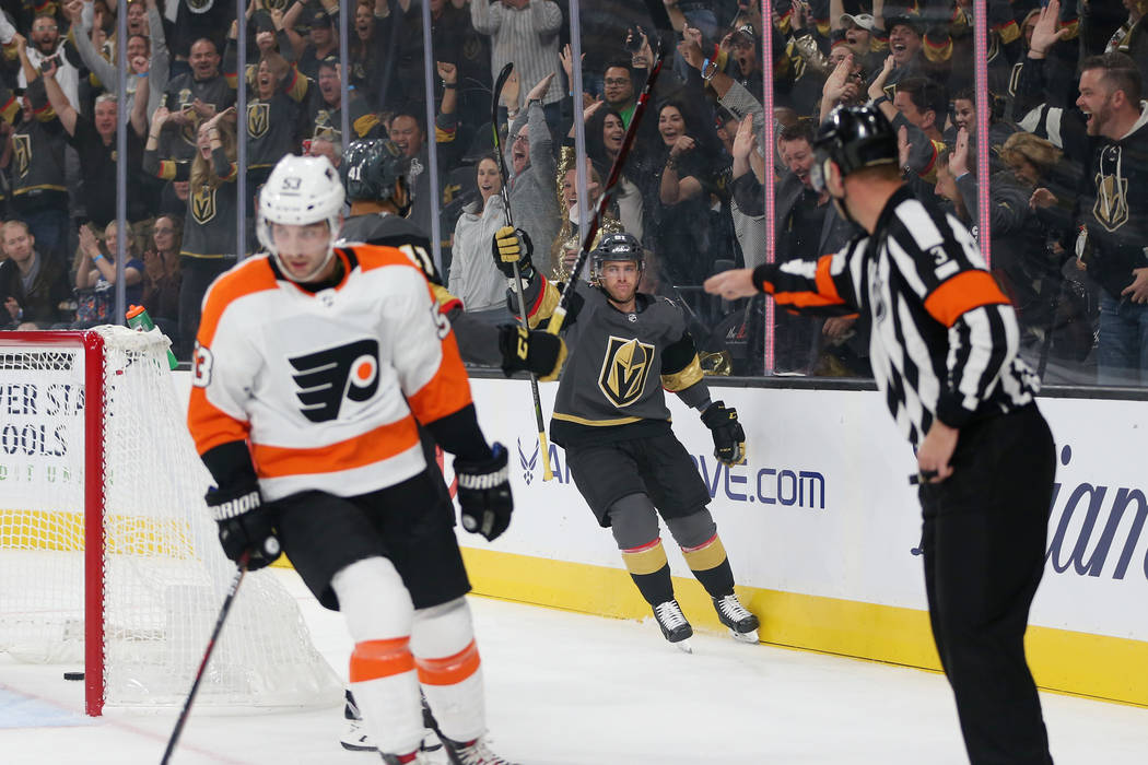Vegas Golden Knights center Jonathan Marchessault (81) celebrates his score against Philadelphia Flyers in the first period of a hockey game at T-Mobile Arena in Las Vegas, Thursday, Oct. 4, 2018. ...