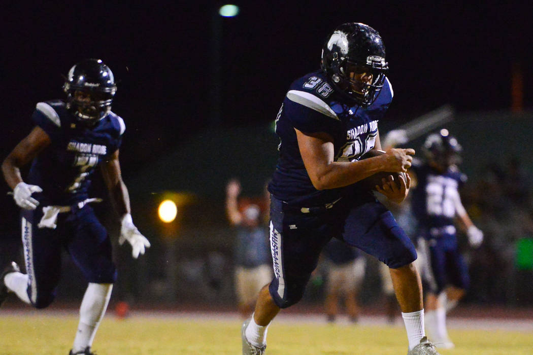 Shadow Ridge running back Xavier Gomez (38) scores a touchdown against Cimarron-Memorial during a game at Shadow Ridge High School in Las Vegas on Friday, Sept. 14, 2018. Brett Le Blanc/Las V ...