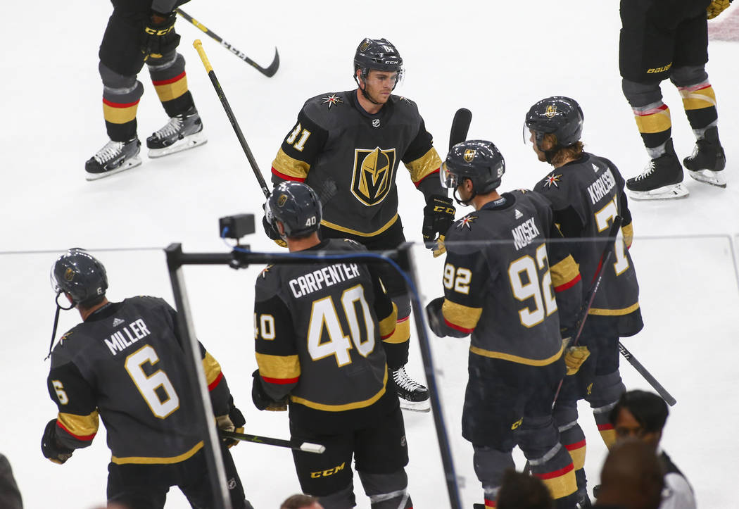 Golden Knights center Jonathan Marchessault (81) reacts after a 5-2 loss to the Philadelphia Flyers in a season-opening game at T-Mobile Arena in Las Vegas on Thursday, Oct. 4, 2018. Chase Stevens ...