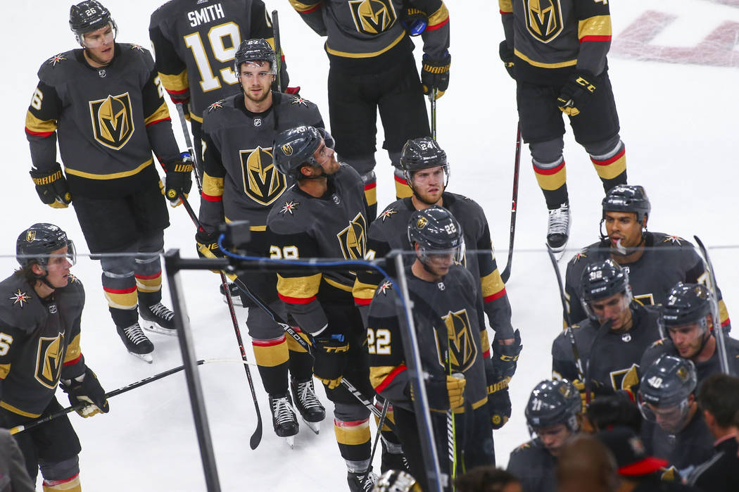 Golden Knights players react after a 5-2 loss to the Philadelphia Flyers in a season-opening game at T-Mobile Arena in Las Vegas on Thursday, Oct. 4, 2018. Chase Stevens Las Vegas Review-Journal @ ...