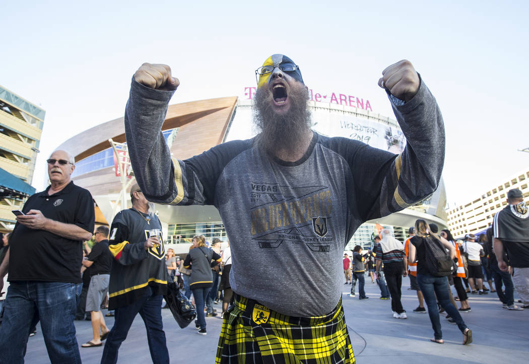 Golden Knights fan Charles Lynch fires up the crowd before the start of Vegas' NHL hockey game with the Philadelphia Flyers on Thursday, Oct. 4, 2018, at T-Mobile Arena, in Las Vegas. Benjamin Ha ...