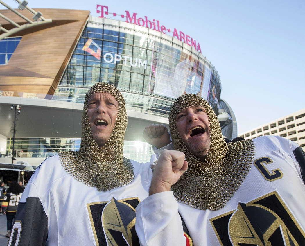 Golden Knights fans Eric Winfrey, left, and Mark Balconi before the start of Vegas' NHL hockey game with the Philadelphia Flyers on Thursday, Oct. 4, 2018, at T-Mobile Arena, in Las Vegas. Benjami ...