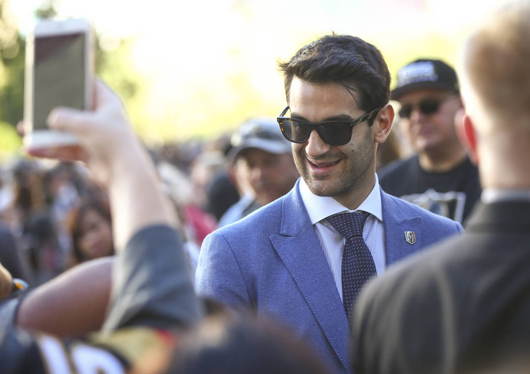 Golden Knights left wing Max Pacioretty arrives before the Golden Knights take on the Philadelphia Flyers in their season-opening game at T-Mobile Arena in Las Vegas on Thursday, Oct. 4, 2018. Cha ...