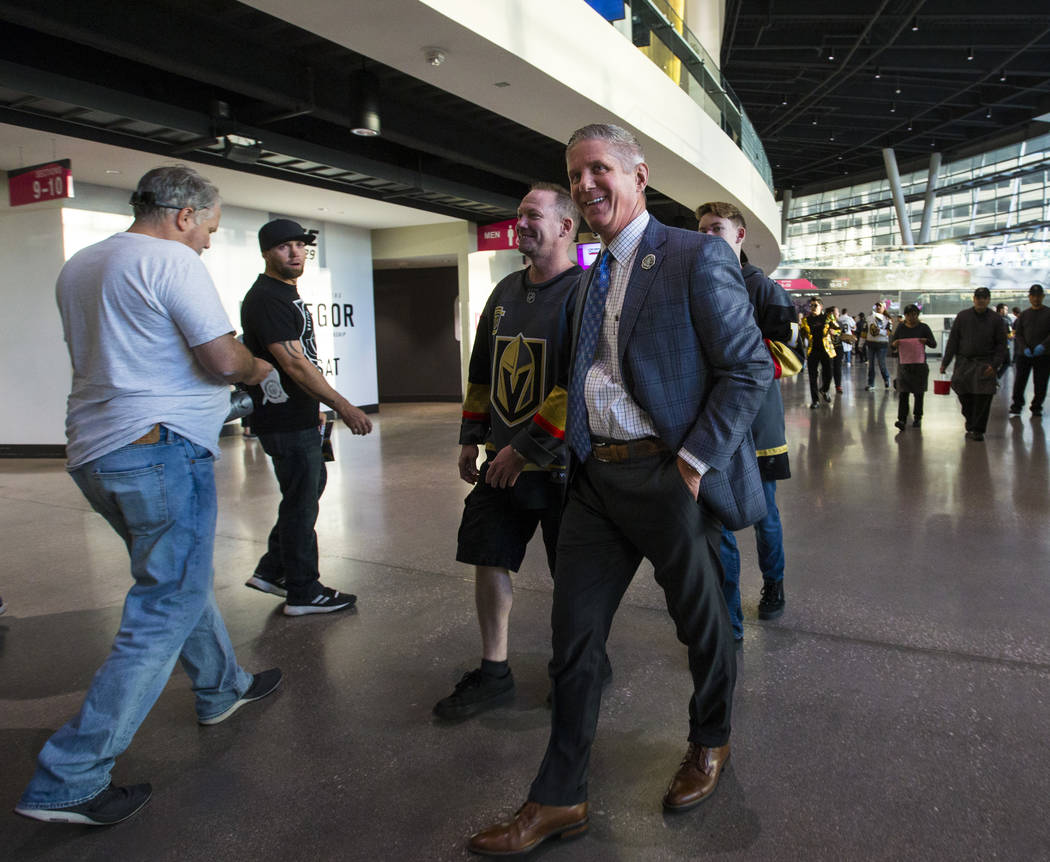 Kerry Bubolz, president of the Golden Knights, walks the concourse before the Golden Knights take on the Philadelphia Flyers in their season-opening game at T-Mobile Arena in Las Vegas on Thursday ...