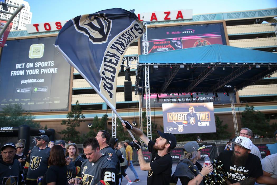 Matt Helfst of Las Vegas waves his Vegas Golden Knights flag before the team's home opener at T-Mobile Arena in Las Vegas, Thursday, Oct. 4, 2018. Erik Verduzco Las Vegas Review-Journal @Erik_Verduzco