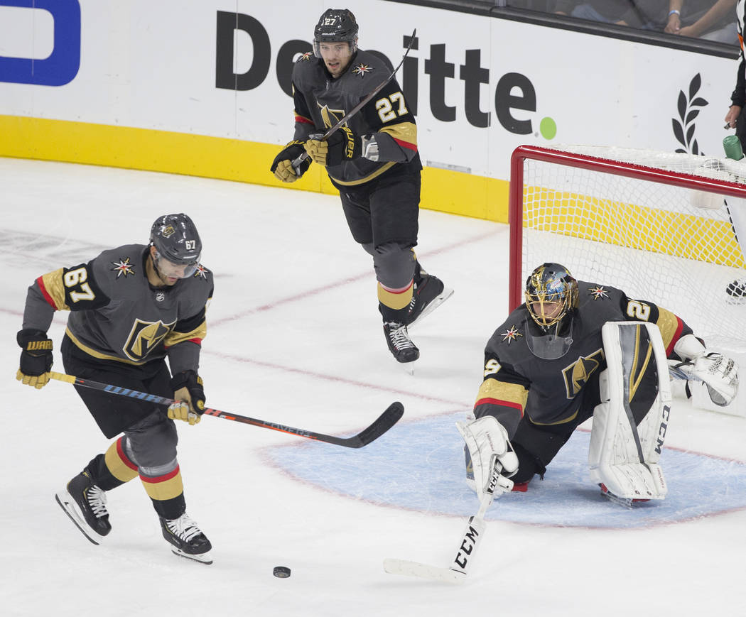 Golden Knights goaltender Marc-Andre Fleury (29) makes a first period save during their NHL hockey game with the Philadelphia Flyers on Thursday, Oct. 4, 2018, at T-Mobile Arena, in Las Vegas. Ben ...