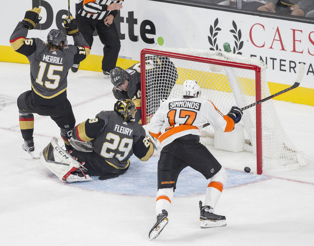 Philadelphia Flyers right wing Wayne Simmonds (17) scores on Golden Knights goaltender Marc-Andre Fleury (29) in the first period during their NHL hockey game on Thursday, Oct. 4, 2018, at T-Mobil ...
