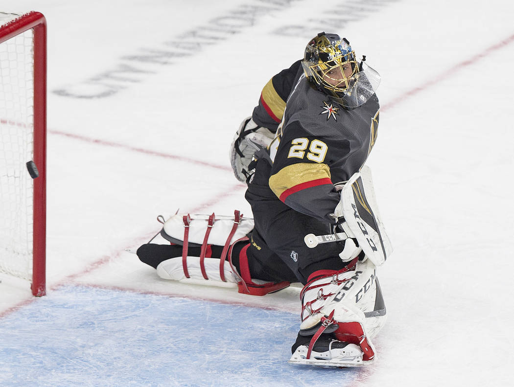 Golden Knights goaltender Marc-Andre Fleury (29) watches a second period goal go by during their NHL hockey game on Thursday, Oct. 4, 2018, at T-Mobile Arena, in Las Vegas. Benjamin Hager Las Vega ...
