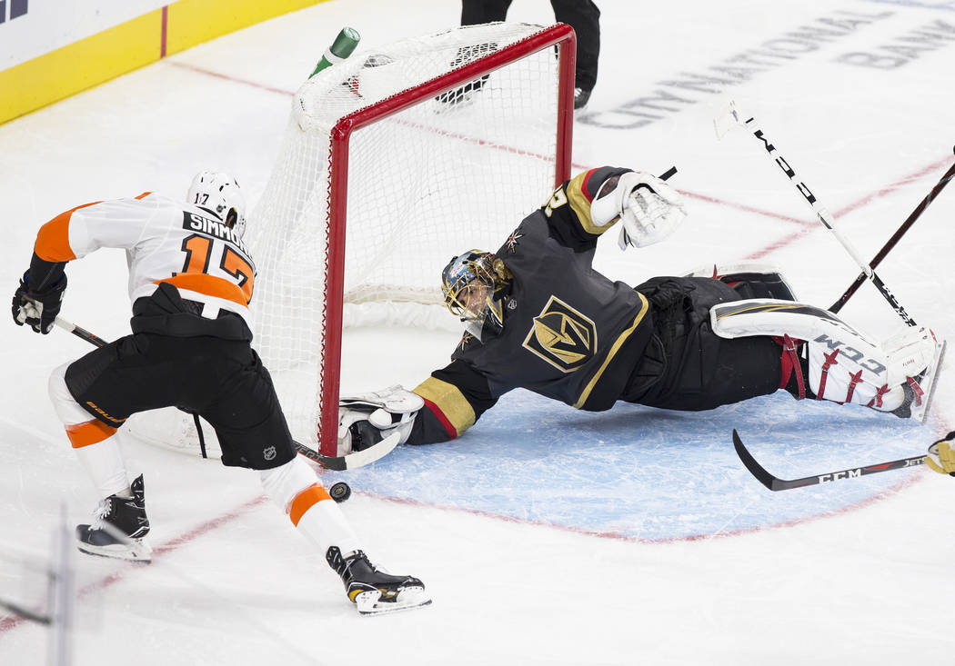 Philadelphia Flyers right wing Wayne Simmonds (17) scores a second period goal against Golden Knights goaltender Marc-Andre Fleury (29) during their NHL hockey game on Thursday, Oct. 4, 2018, at T ...