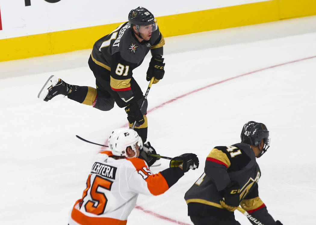 Golden Knights center Jonathan Marchessault (81) lines up a goal against the Philadelphia Flyers during the first period of a season-opening game at T-Mobile Arena in Las Vegas on Thursday, Oct. 4 ...