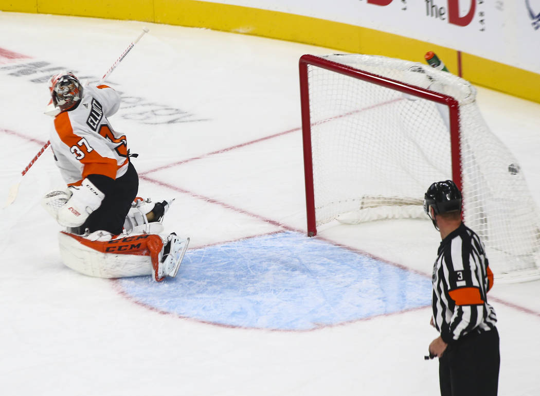 Golden Knights center Jonathan Marchessault, not pictured, scores past Philadelphia Flyers goaltender Brian Elliott (37) during the first period of a season-opening game at T-Mobile Arena in Las V ...