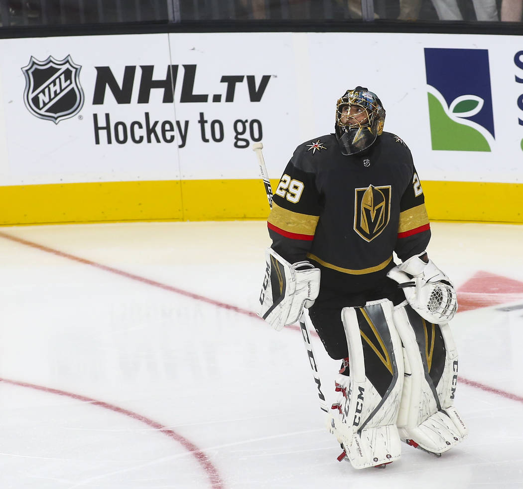 Golden Knights goaltender Marc-Andre Fleury (29) reacts after getting scored on by Philadelphia Flyers right wing Wayne Simmonds, not pictured, during the second period of a season-opening game at ...