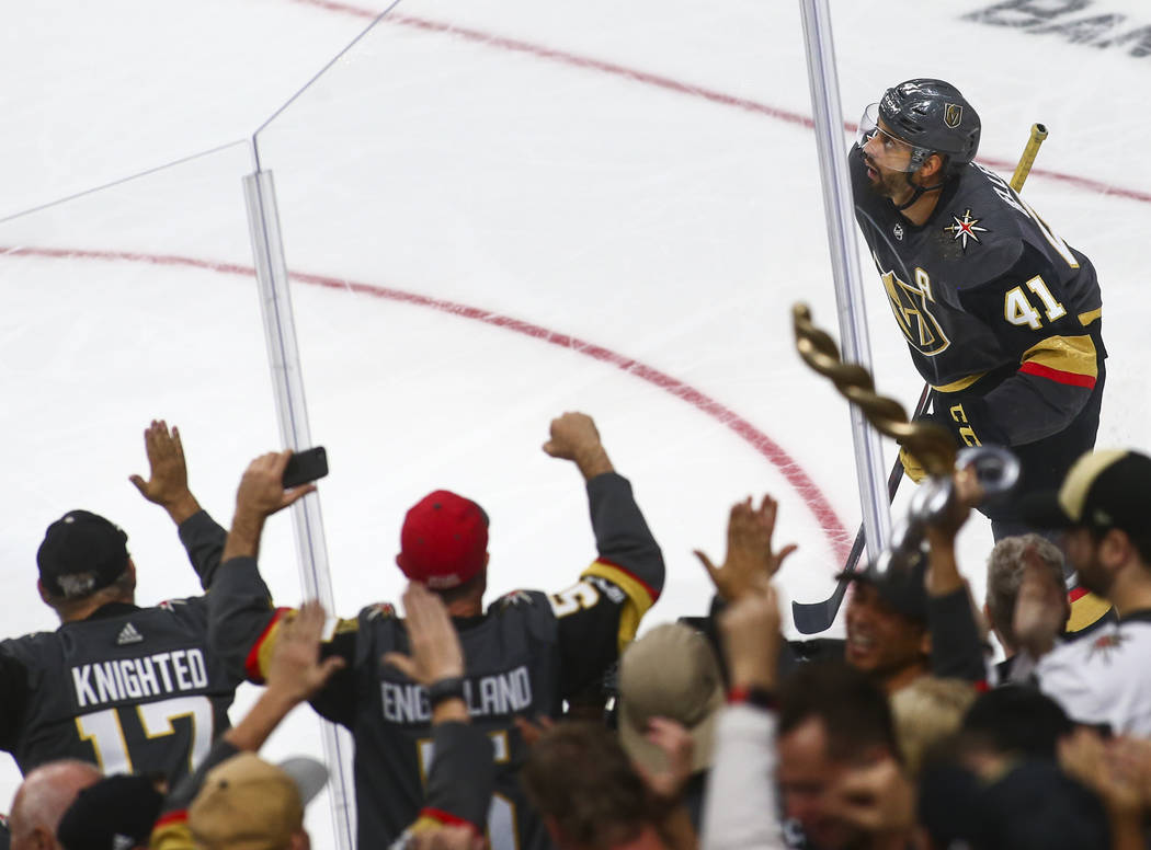 Golden Knights left wing Pierre-Edouard Bellemare (41) celebrates his goal during the third period of a season-opening game against the Philadelphia Flyers at T-Mobile Arena in Las Vegas on Thursd ...
