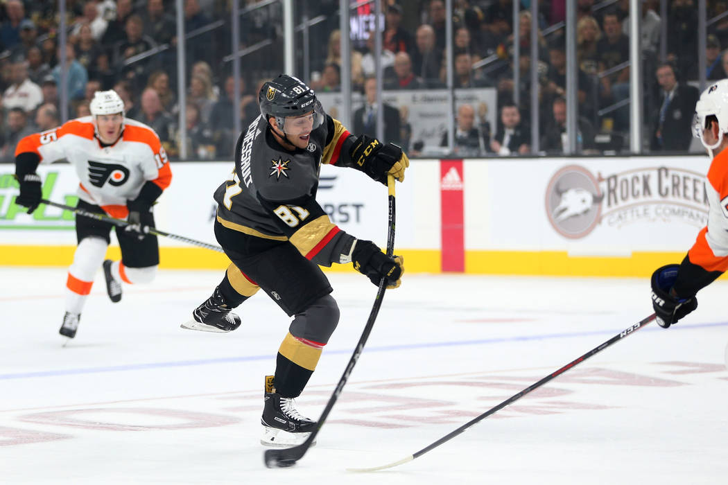 Vegas Golden Knights center Jonathan Marchessault (81) takes a shot against Philadelphia Flyers in the first period of a hockey game at T-Mobile Arena in Las Vegas, Thursday, Oct. 4, 2018. Erik Ve ...