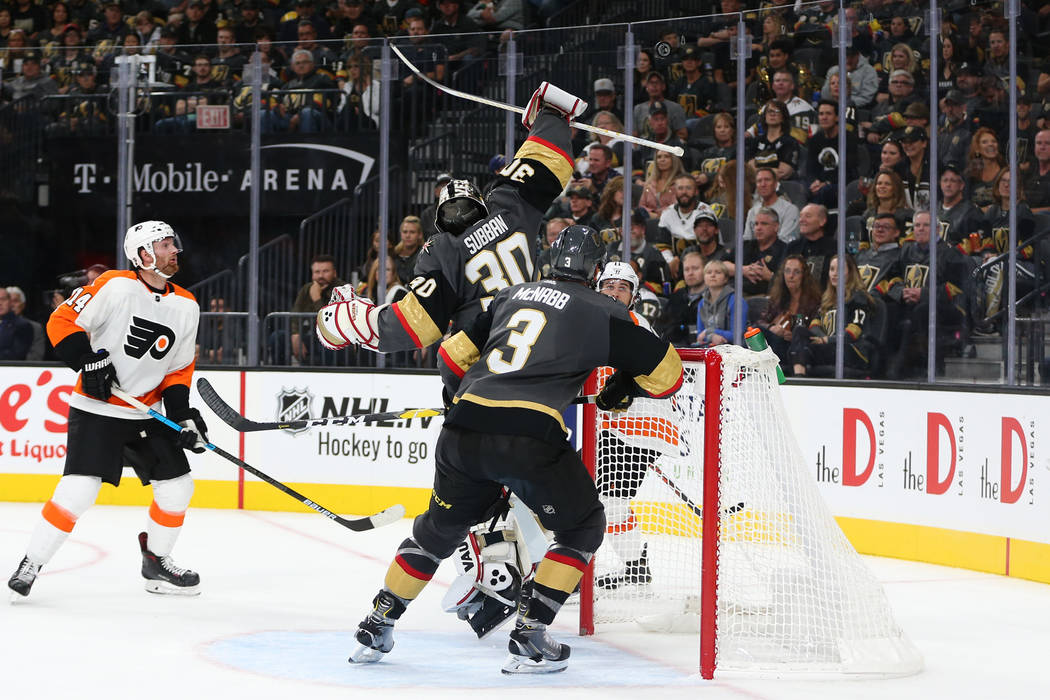 Vegas Golden Knights goaltender Malcolm Subban (30) makes a stop against Philadelphia Flyers in the second period of a hockey game at T-Mobile Arena in Las Vegas, Thursday, Oct. 4, 2018. Erik Verd ...