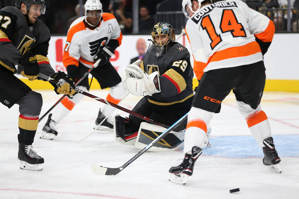 Vegas Golden Knights goaltender Marc-Andre Fleury (29) defends against Philadelphia Flyers in the second period of a hockey game at T-Mobile Arena in Las Vegas, Thursday, Oct. 4, 2018. Erik Verduz ...