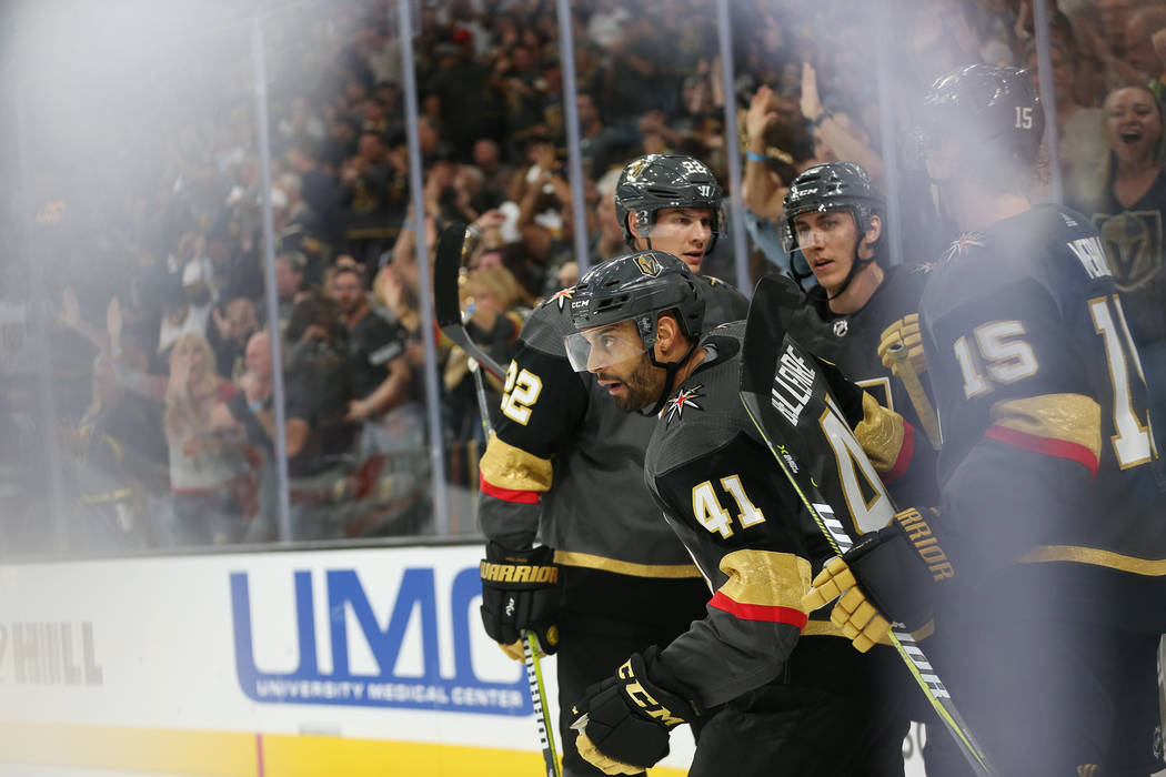 Vegas Golden Knights left wing Pierre-Edouard Bellemare (41) celebrates his score against Philadelphia Flyers in the third period of a hockey game at T-Mobile Arena in Las Vegas, Thursday, Oct. 4, ...