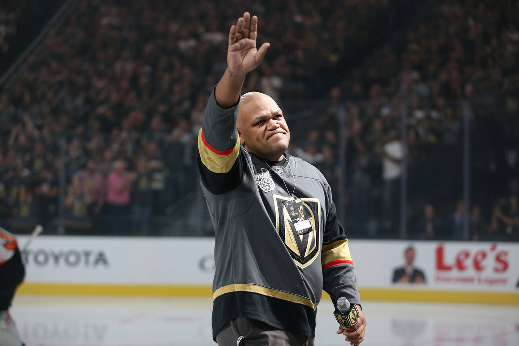 Carnell Johnson, also known as Golden Pipes, after singing the national anthem during the Vegas Golden Knights season opener against the Philadelphia Flyers at T-Mobile Arena in Las Vegas, Thursda ...