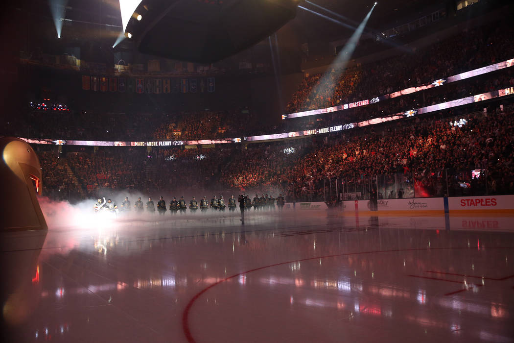 The Vegas Golden Knights are introduced during their hockey season opener against the Philadelphia Flyers at T-Mobile Arena in Las Vegas, Thursday, Oct. 4, 2018. Erik Verduzco Las Vegas Review-Jou ...