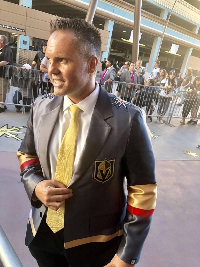Vegas Golden Knights exec Brian Killingsworth is shown in his new Golden Knight sports blazer at T-Mobile Arena on Thursday, Oct. 4, 2018. (John Katsilometes/Las Vegas Review-Journal) @JohnnyKats