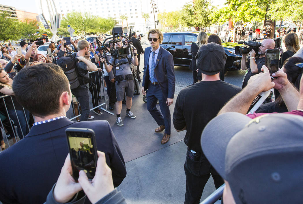 Golden Knights defenseman Jon Merrill arrives before the Golden Knights take on the Philadelphia Flyers in their season-opening game at T-Mobile Arena in Las Vegas on Thursday, Oct. 4, 2018. Chas ...