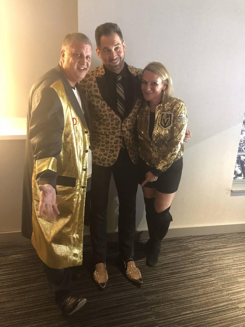 D Las Vegas co-owner Derek Stevens, Golden Knights broadcaster Shane Hindy and Nicole Stevens are shown in their VGK garb at T-Mobile Arena on Thursday, Oct. 4, 2018. (John Katsilometes/Las Vegas ...