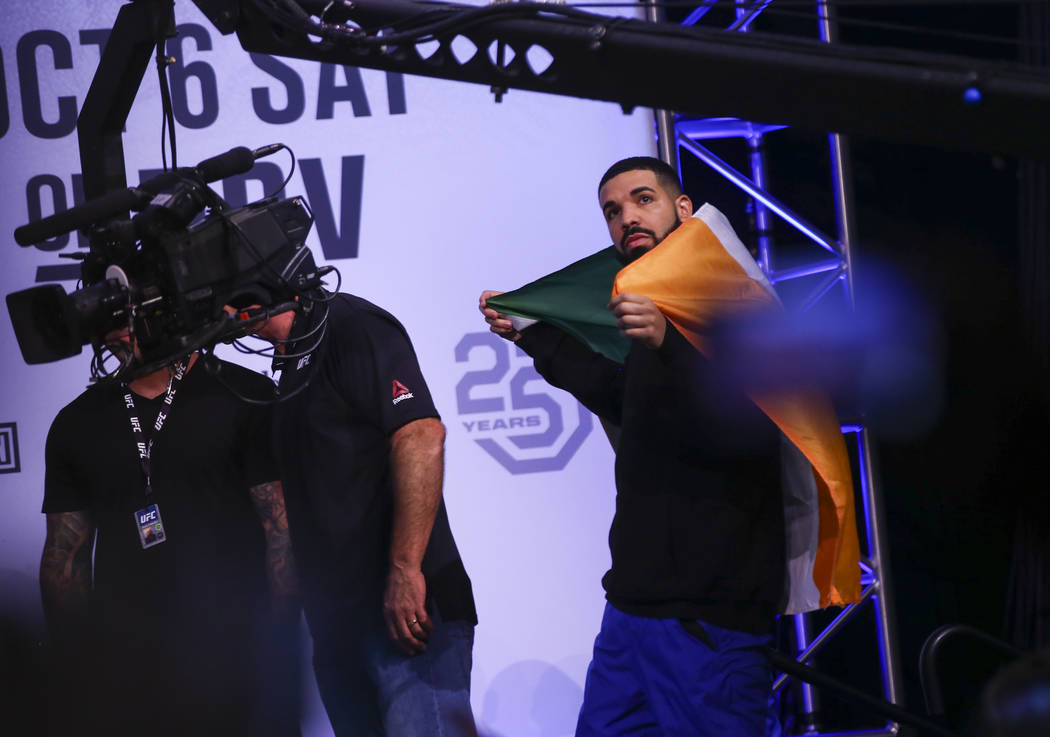 Drake looks on during the ceremonial weigh-in ahead of UFC 229 at T-Mobile Arena in Las Vegas on Friday, Oct. 5, 2018. Chase Stevens Las Vegas Review-Journal @csstevensphoto