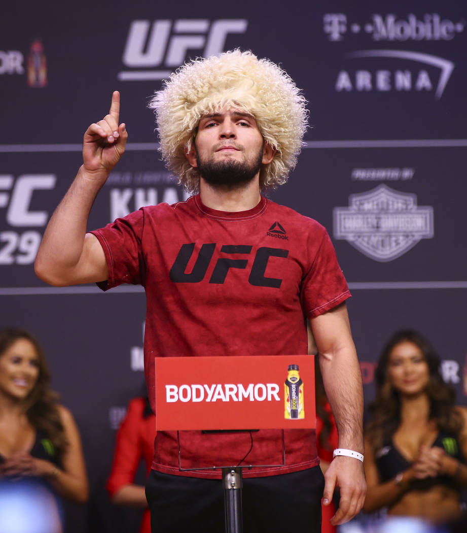Khabib Nurmagomedov poses during the ceremonial weigh-in event ahead of his fight against Conor McGregor in UFC 229 at T-Mobile Arena in Las Vegas on Friday, Oct. 5, 2018. Chase Stevens Las Vegas ...