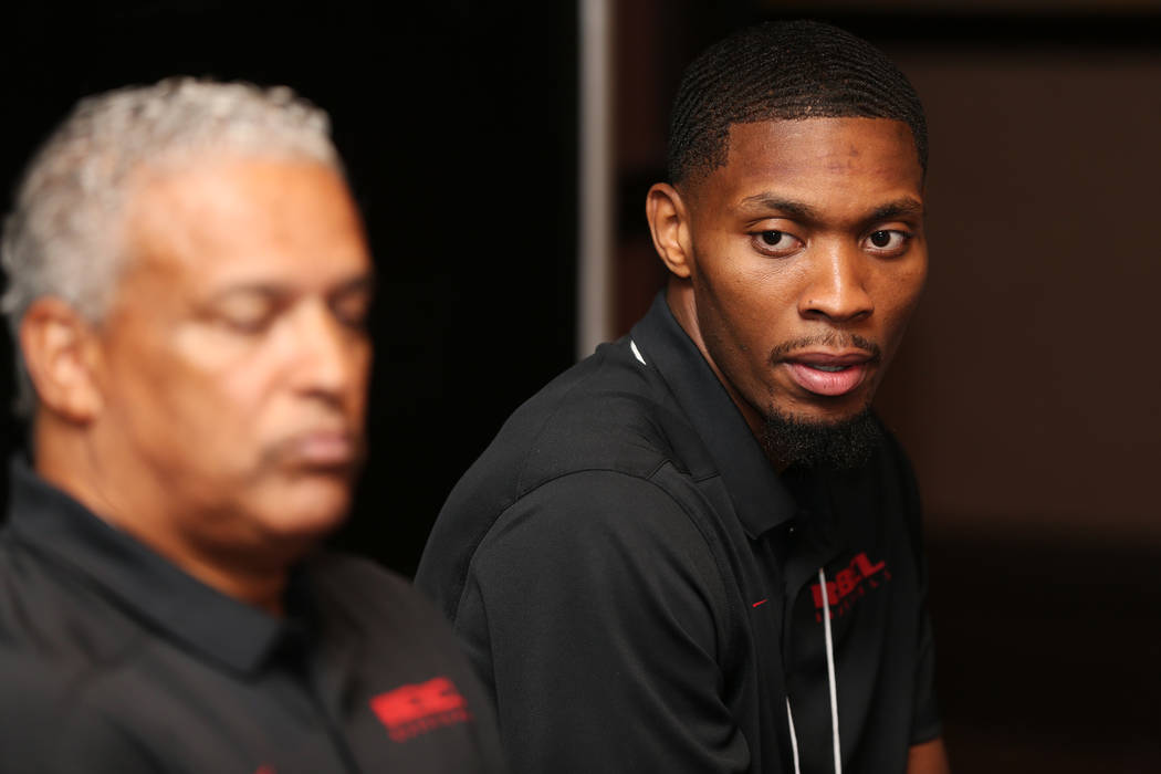 UNLV's basketball player Shakur Juiston, right, speaks during the Mountain West Conference media day at the Cosmopolitan of Las Vegas hotel-casino in Las Vegas, Tuesday, Oct. 16, 2018. Erik Verduz ...