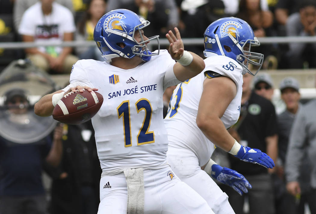 EUGENE, OR - SEPTEMBER 15: San Jose State QB Josh Love (12) drops back to pass during an NCAA football game between the Oregon Ducks and San Jose State Spartans on September 15, 2018, at Autzen St ...