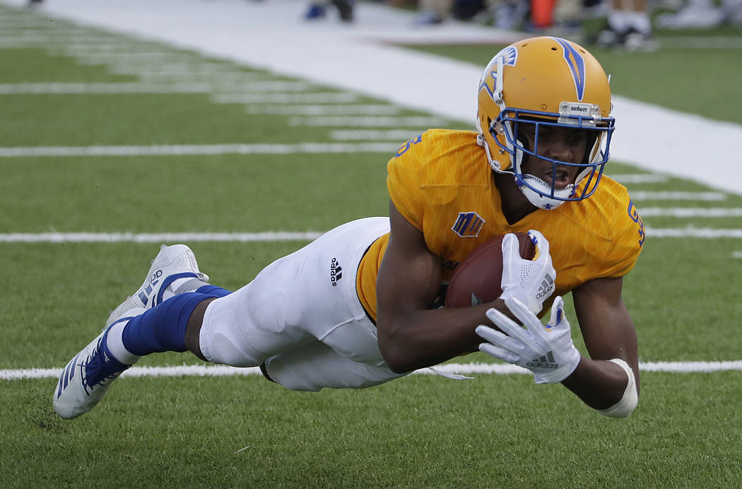 San Jose State wide receiver Tre Walker catches a pass during the second half of an NCAA college football game against UNLV in San Jose, Calif., Saturday, Oct. 27, 2018. (AP Photo/Jeff Chiu)