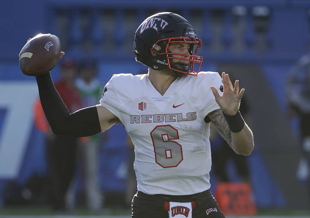 UNLV quarterback Max Gilliam (6) looks to pass against San Jose State during the first half of an NCAA college football game in San Jose, Calif., Saturday, Oct. 27, 2018. (AP Photo/Jeff Chiu)