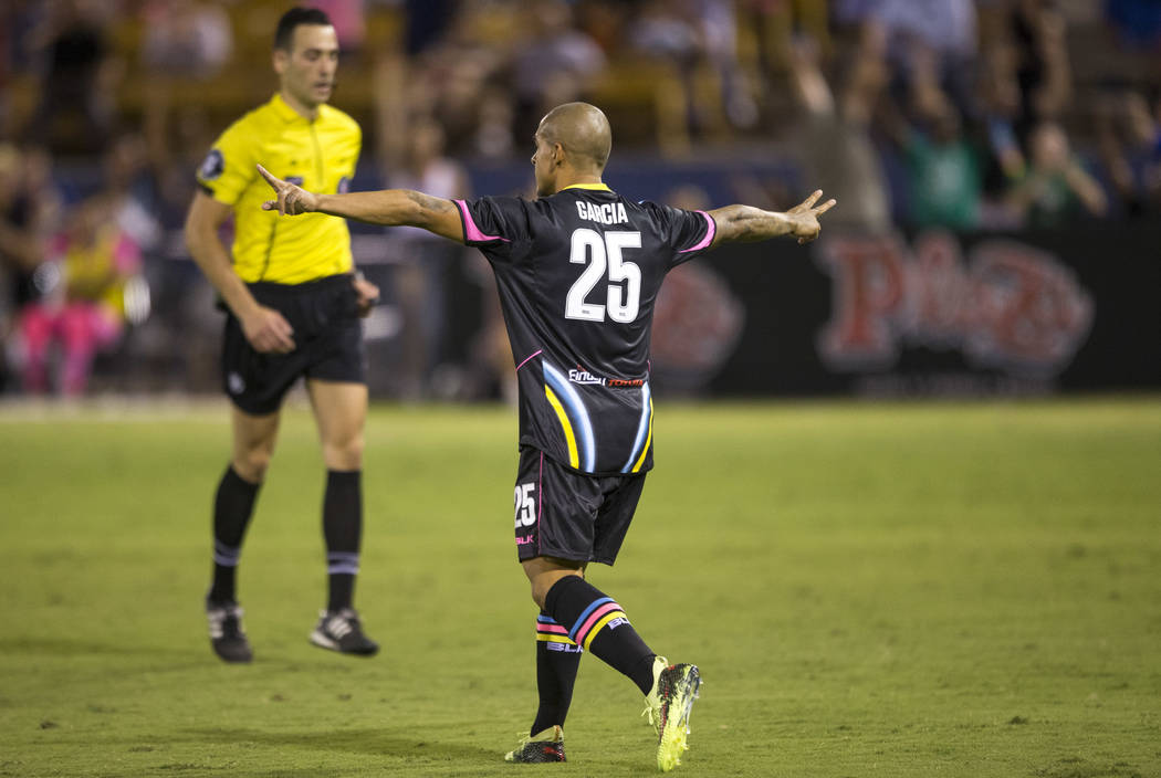 Las Vegas Lights FC midfielder Rafael Garcia (25) celebrates after scoring a goal against Fresno FC during the second half of a United Soccer League match at Cashman Field in downtown Las Vegas on ...