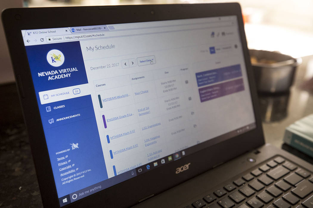 A student logs into a Nevada Virtual Academy classroom from home. Richard Brian Las Vegas Review-Journal @vegasphotograph