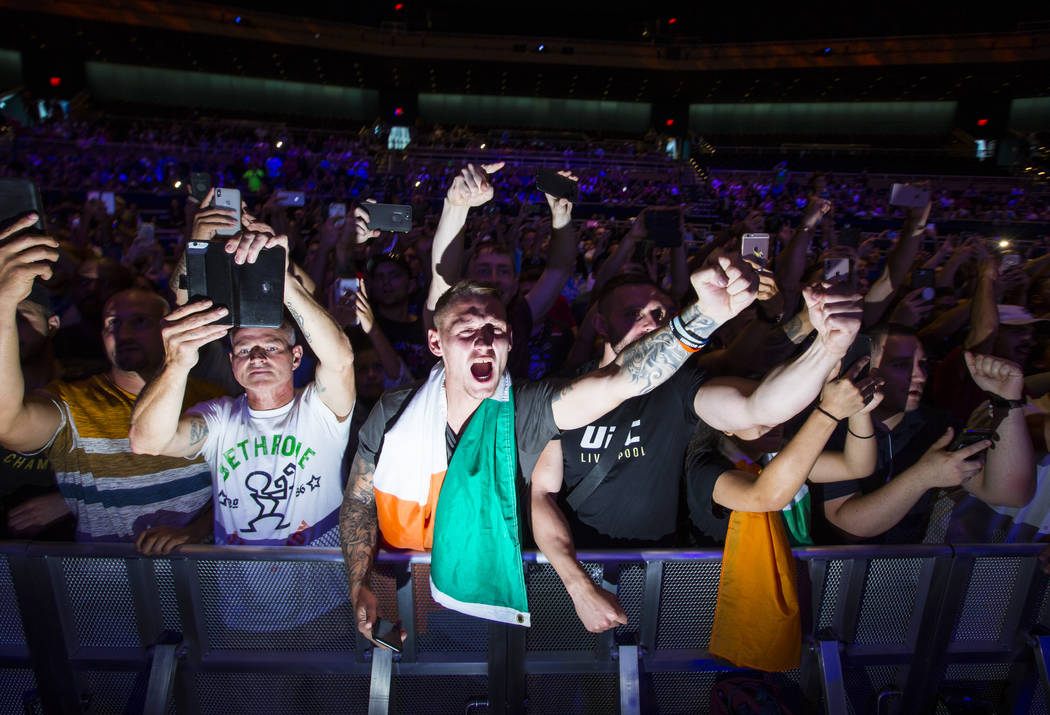 Conor McGregor fans cheer as he addresses the audience after working out ahead of UFC 229 at Park Theater at Park MGM in Las Vegas on Wednesday, Oct. 3, 2018. Chase Stevens Las Vegas Review-Journa ...