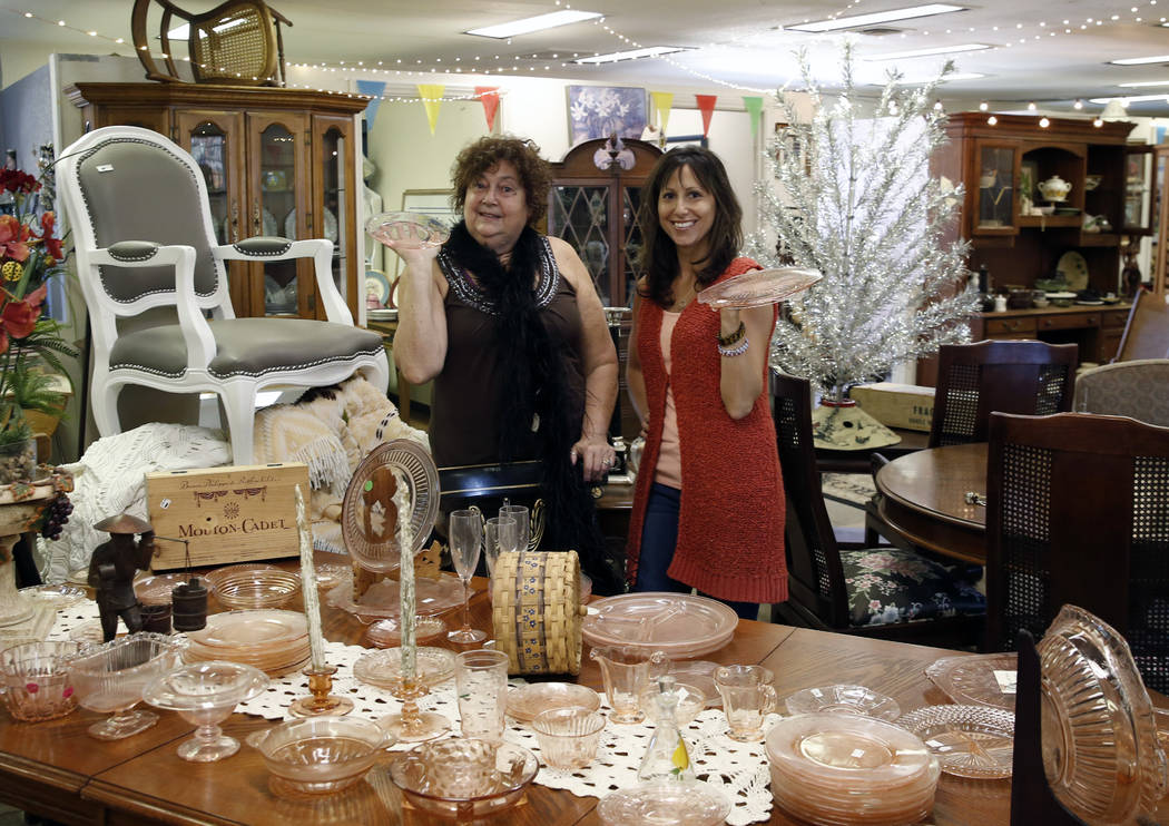 Renee Poole, left, and her daughter Jessica, owners of Not Just Antiques Mart, pose for photo at their Antiques Mart on Monday, Oct. 8, 2018, in Las Vegas. Bizuayehu Tesfaye/Las Vegas Review-Journ ...