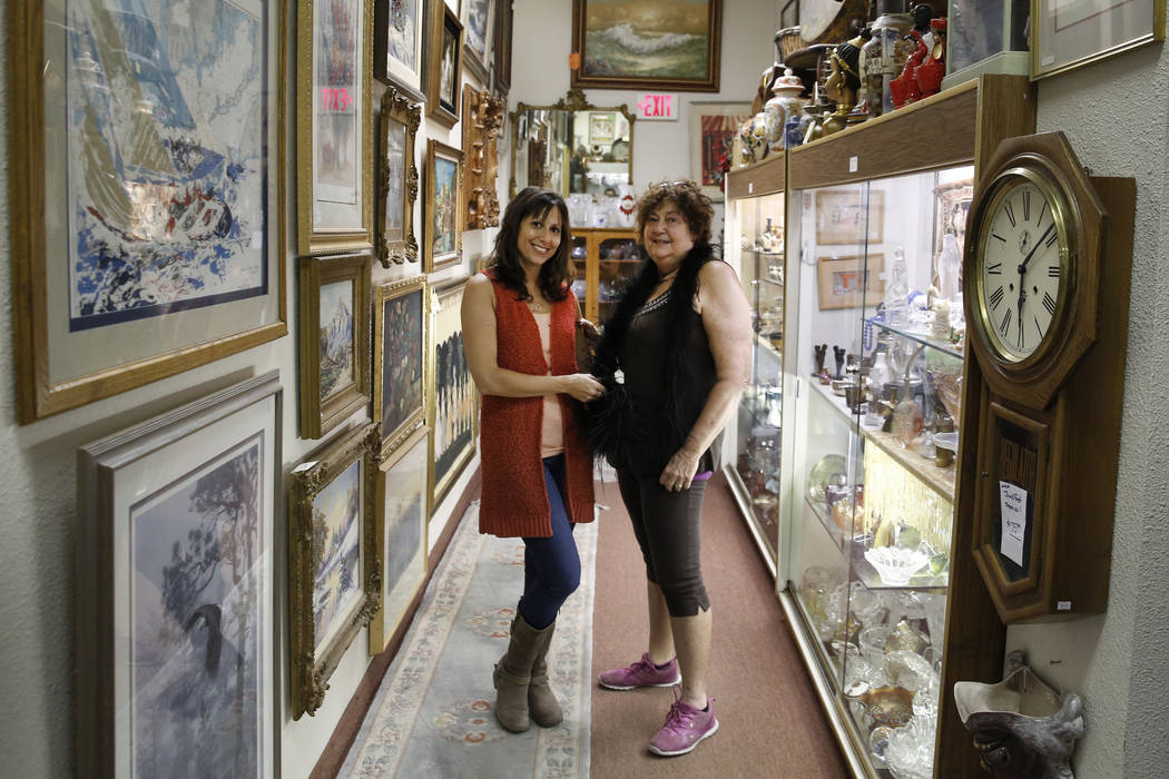 Renee Poole, right, and her daughter Jessica, owners of Not Just Antiques Mart, pose for photo at their Antiques Mart on Monday, Oct. 8, 2018, in Las Vegas. Bizuayehu Tesfaye/Las Vegas Review-Jour ...