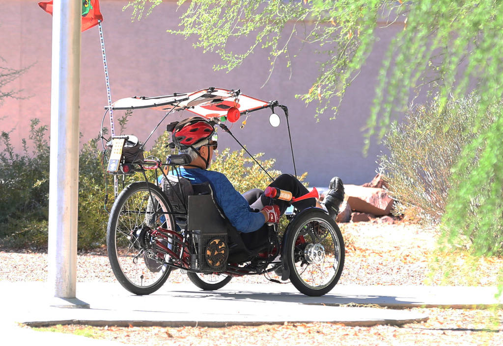 A retired army Jim Abernethy rides his tricycle at Patriot Park on Monday, Oct. 8, 2018, in Las Vegas. The nonprofit group Forgotten Not Gone is dedicated to host bicycle rides across the city for ...